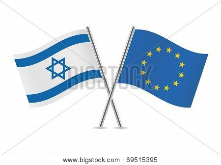 Europe union and Israel flags.