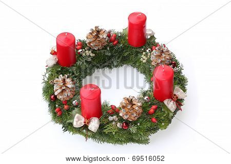 Advent Wreath With Red Candles, Natural Decoration