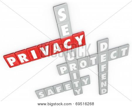 Privacy, security, protect, defend and safety words in 3d letter tiles as a game or strategy to keep your personal information or data safe from online crime