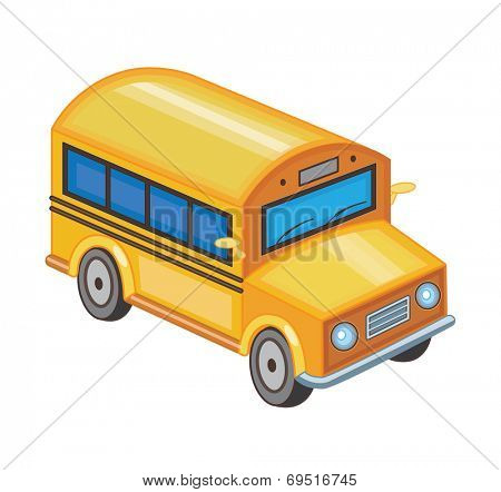 yellow school bus isolated on white (vector illustration)
