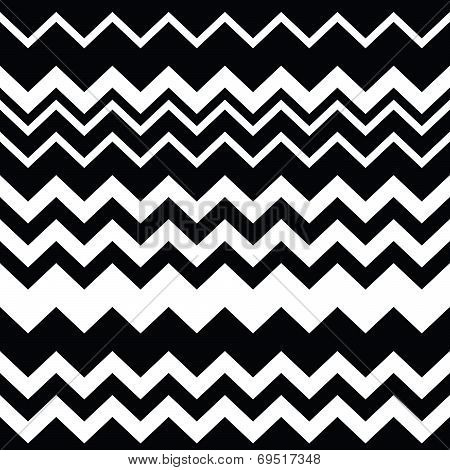Tribal Aztec zigzag seamless black and white pattern