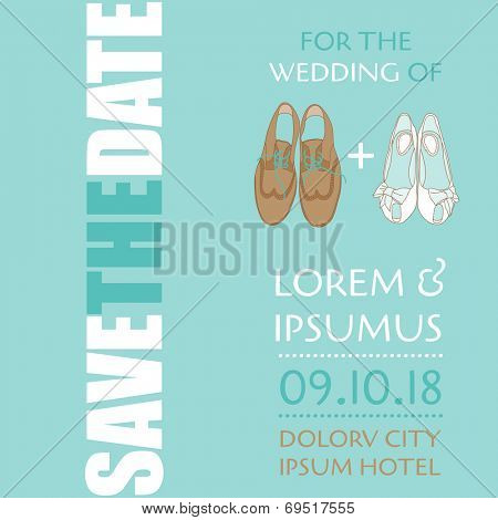 Wedding Invitation Card - with Wedding Shoes - Save the Date - in vector