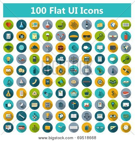 Set of modern icons in flat design with long shadows and trendy colors for web, banners, covers, corporate brochures, mobile applications, business, social networks etc. Vector eps10 illustration