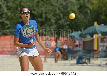 MOSCOW, RUSSIA - JULY 19, 2014: Federica Bacchetta of Italy in the match against Russia during ITF Beach Tennis World Team Championship. Italy won 2-1