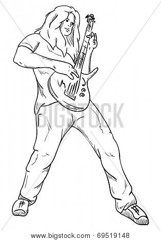 vector- Rock guitar player - isoalted on background