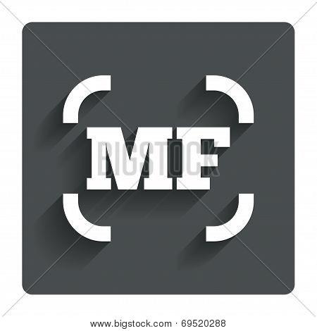 Manual focus photo camera sign icon. MF Settings