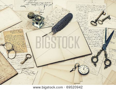 Open Diary Book, Old Letters And Feather Pen