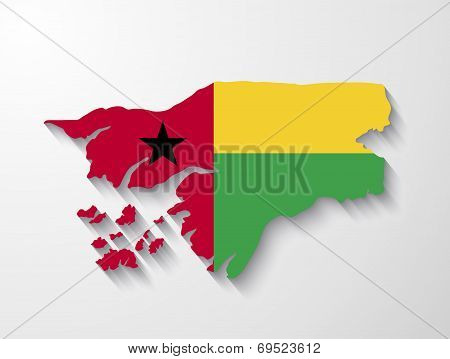 Guinea-bissau  Country Map With Shadow Effect Presentation