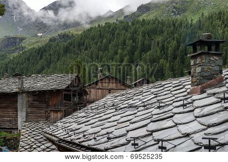 Stone Roofs Of A Walser Village, Cuneaz (italy)