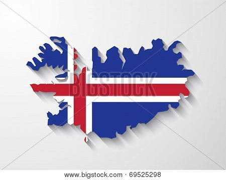 Iceland  Country Map With Shadow Effect Presentation