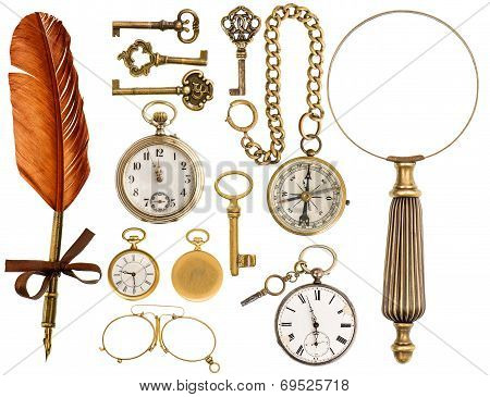 Antique Accessories. Antique Keys, Clock, Loupe, Compass