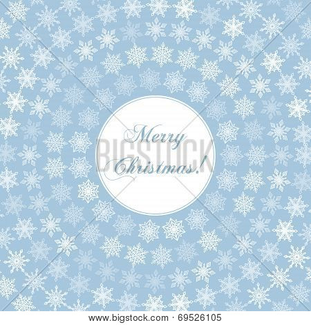 Delicate Merry Christmas Greeting Card with Words on Round and Fine White Snowflakes plus Background