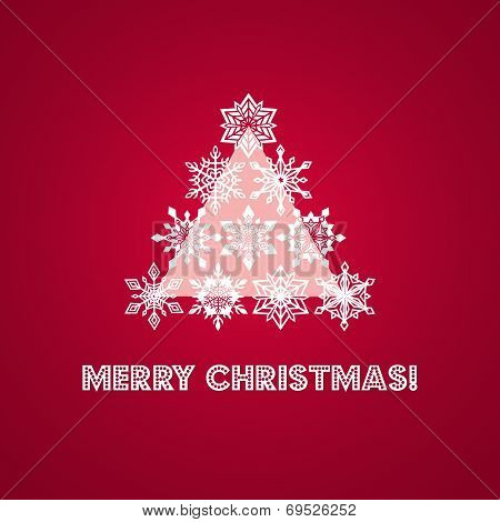 Merry Christmas Greeting Card with Words and Abstract Tree from White Lace Snowflakes plus Geometric