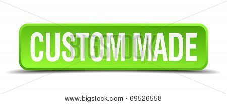 Custom Made Green 3D Realistic Square Isolated Button