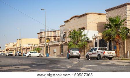 Rahima, Saudi Arabia - May 14, 2014: Street View With Parked Cars, Saudi Arabia