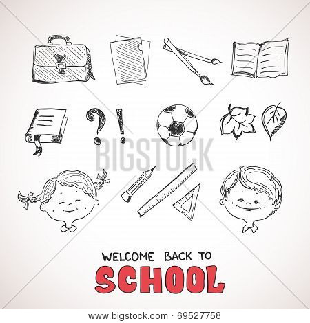 School objects, sketch style