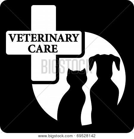 pet silhouette on black veterinary care icon