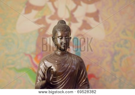 Buddha Sculptre On Thai Mural Background Patterns Thailand