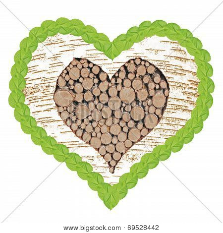 Birch Tree Heart With Frame Of Linden Leafs