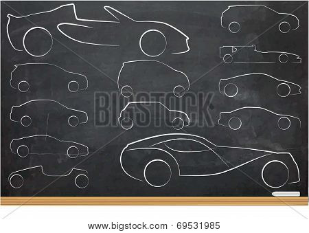 Illustration Of Outlines Of Cars
