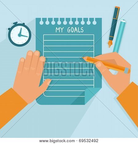 Vector Personal Goals List In Flat Style