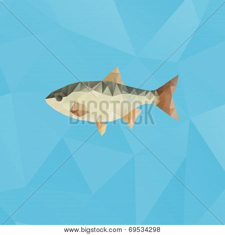 Fish Made With Triangles On Blue Polygonal Background