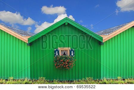Front Of Green Boat Houses With Traditional Bavarian Window