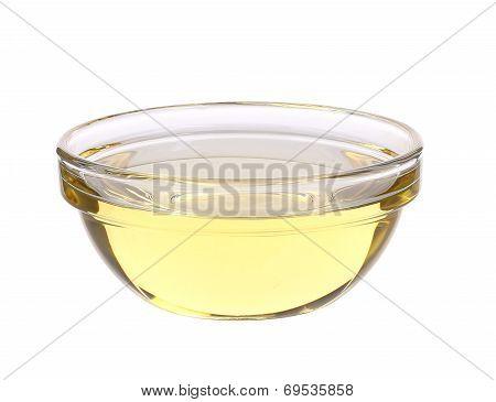Sunflower oil in glass bowl.