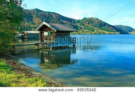 Lake Schliersee With Boat House, Autumnal Landscape Germany