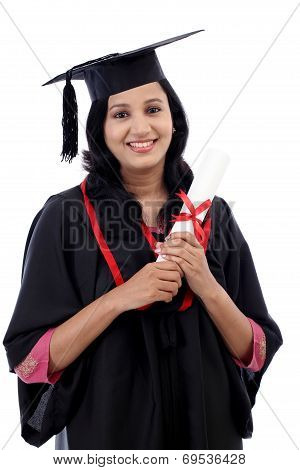 Happy Young Female Student Holding Diploma