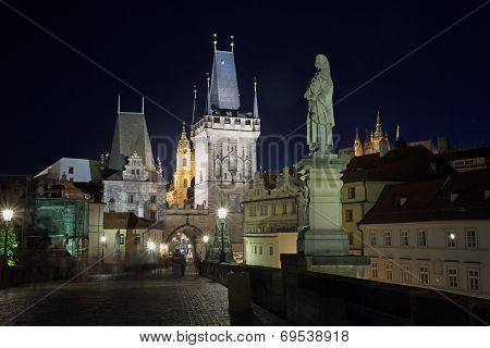 Night View Of The Charles Bridge (prague)