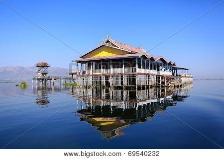 Floating house on Inle lake, Myanmar