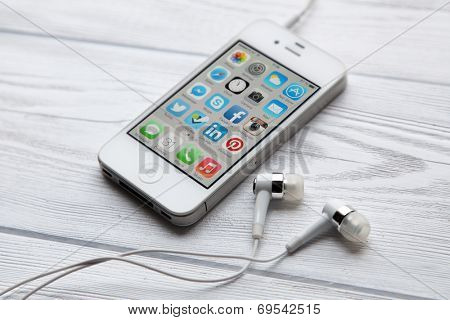WROCLAW, POLAND - JULY 31, 2014: Photo of iPhone 4 smartphone device