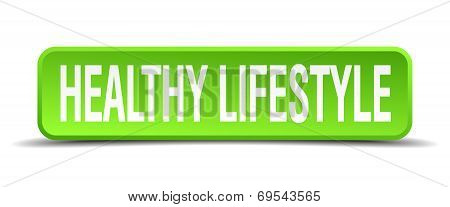 Healthy Lifestyle Green 3D Realistic Square Isolated Button