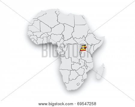 Map of worlds. Uganda. 3d