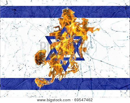 Israel Burning Flag Illustration Concept