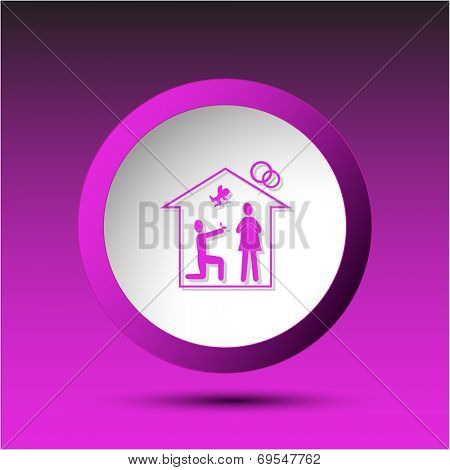 Home affiance. Plastic button. Raster illustration.