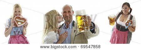 Oktoberfest Waitresses And A Couple