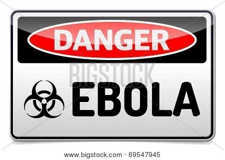 Ebola Virus Danger Sign With Reflection And Shadow On White Background.