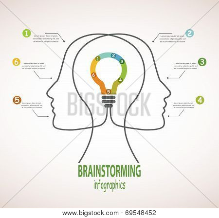 Profile of human heads with lightbulb.  business idea andb rainstorming infographics