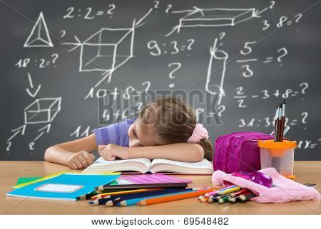 Tired school girl sleeping on the bench behind heavy duties on the board