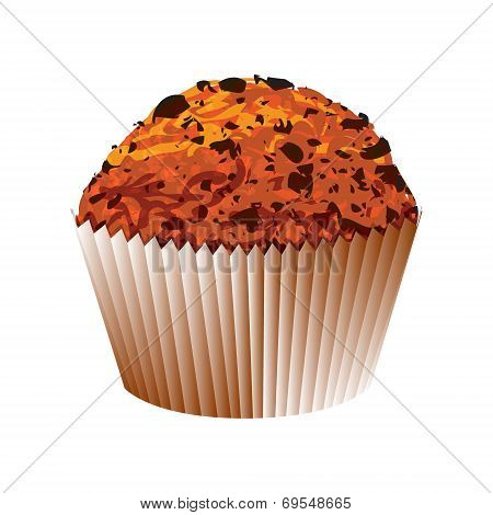Muffin with chocolate cake. Vector object
