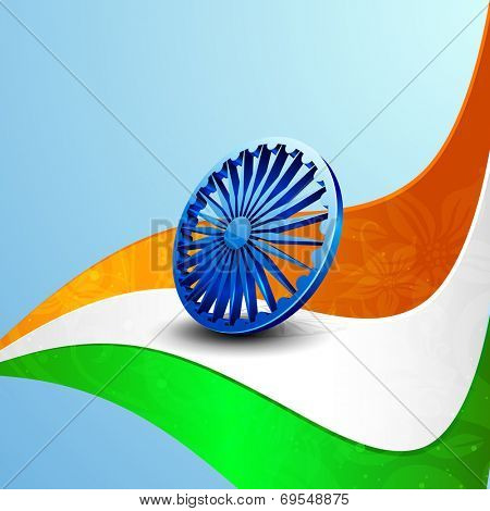 Stylish 3D Asoka Wheel on national flag colors wave on blue background for 15th of August, Indian Independence Day celebrations.