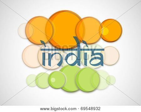 Stylish Indian Independence Day celebrations poster, banner or flyer design with text India on shiny saffron and green color circles.