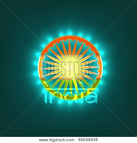 Asoka Wheel in national tricolors with stylish text India on green background for Indian Independence Day celebrations.