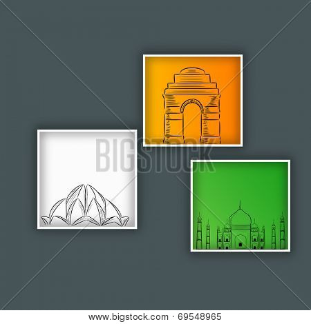 Beautiful national tricolors paintings with sketch of famous monuments of India, India Gate, Taj Mahal and Lotus Temple on grey background.