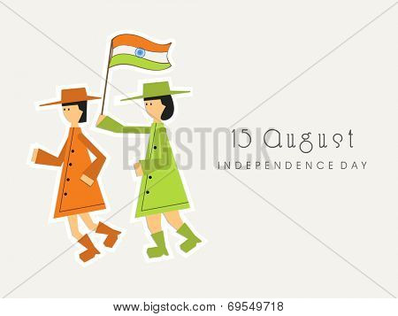 Cute little girls in overcoat holding national flag on beige background for 15th of August, Indian Independence Day celebrations.