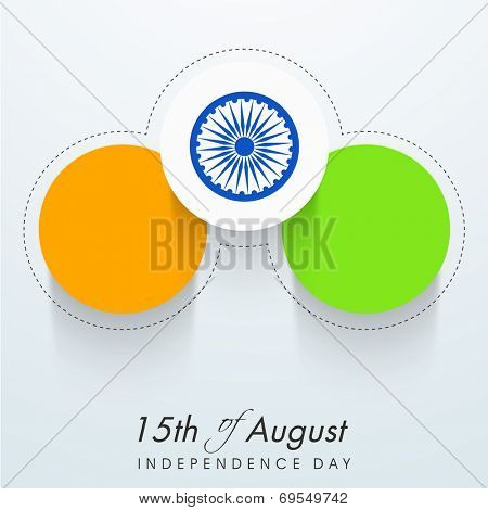 Stylish stickers in national tricolors with Asoka Wheel on grey background for 15th of August, Indian Independence Day celebrations.
