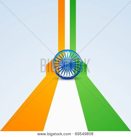 Indian national flag with Asoka Wheel on grey background for 15th of August, Indian Independence Day celebrations.