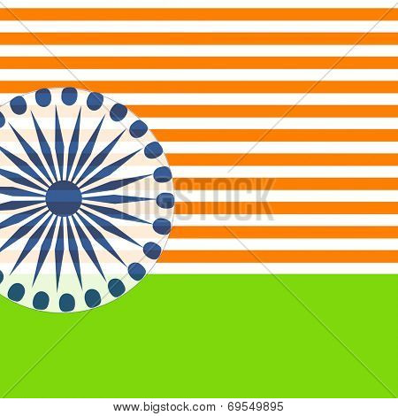 Creative poster, banner or flyer design with Asoka Wheel and national tricolors for 15th of August, Indian Independence Day celebrations.